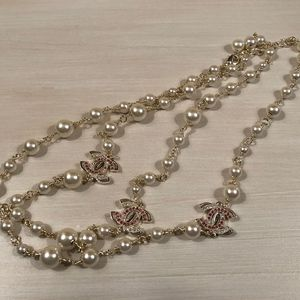 Faux Pearls w/ Pink Embellished Pendants
